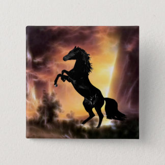 A Friesian Stallion horse rearing 2 Inch Square Button