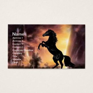A Friesian Stallion horse rearing Business Card