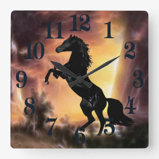 A Friesian Stallion horse rearing Square Wall Clock