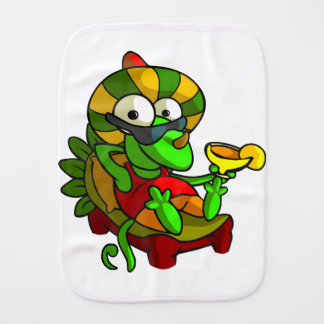 A frog playing the Guitar Burp Cloth