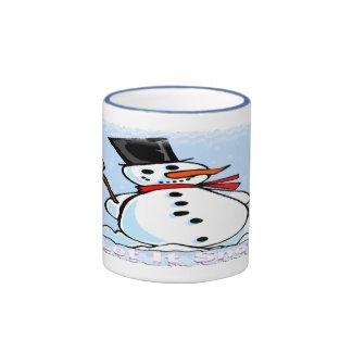 A Frosty Snowman Ringer Coffee Mug