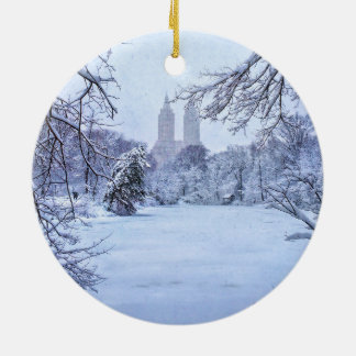 A Frozen Pond In Central Park Round Ceramic Ornament