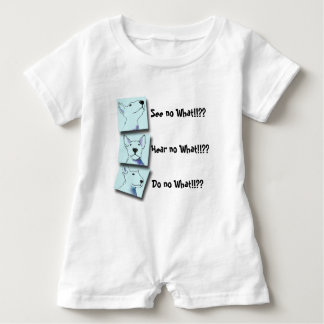 A fun baby blue and white Bullterrier Pop Art Baby Romper