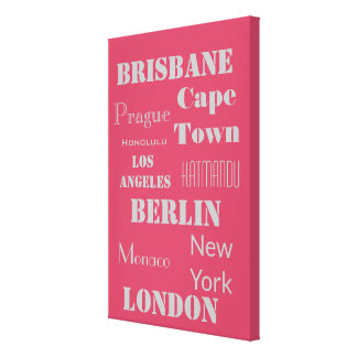 A Fun Pink and Grey Personalized travel Canvas Print