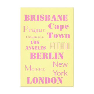 A Fun  Pink and Yellow Personalized travel Canvas Print
