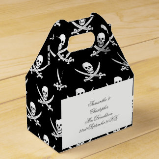 A fun pirate flag themed wedding favor box