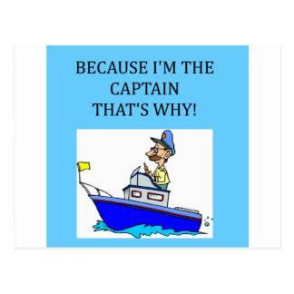a funny boating captain joke postcard