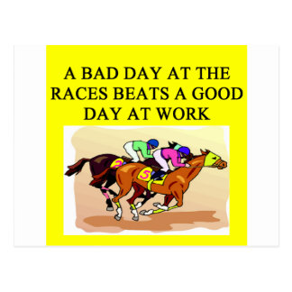 a funny horse player racing joke postcard