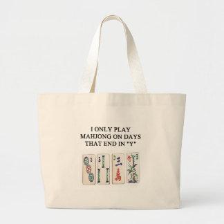 a funny mahjong design large tote bag