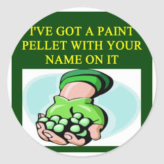 a funny paintball design classic round sticker