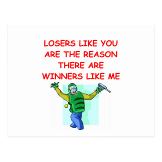 a funny winners and losers joke postcard