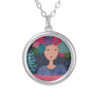 A Garden and a Library Silver Plated Necklace