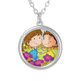 A garden with a sweet couple silver plated necklace