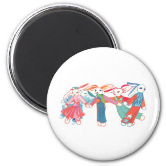 A Gathering of Bunnies 2 Inch Round Magnet