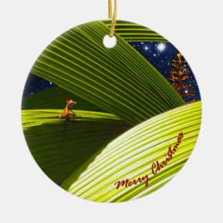 A Gecko Lizard's Tropical Christmas Ceramic Ornament