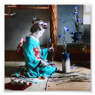 A Geisha Arranging Iris Flowers Vintage Old Japan Photographic Print