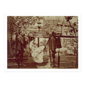 A Geisha being carried in a litter (sepia photo) Postcard
