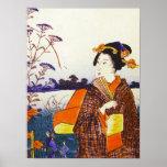 A Geisha by the Water Japanese Woodblock Ukiyo-E Poster