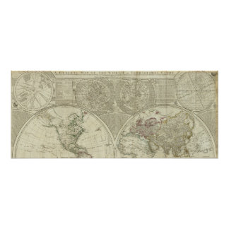 A general map of the world or terraqueous globe poster