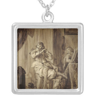 A Gentleman at his Toilet, 1660 Silver Plated Necklace