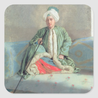 A Gentleman Seated on a Couch Square Sticker