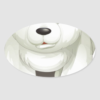 A giant white polar bear oval sticker