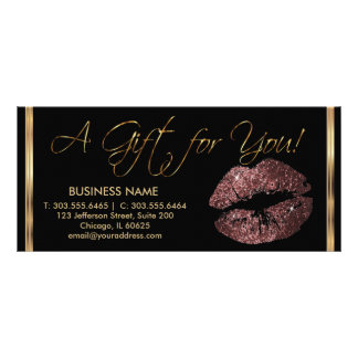 A Gift Certificate Dark Rose Lipstick Business 2 Full Color Rack Card