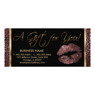 A Gift Certificate Dark Rose Lipstick Business 3 Full Color Rack Card