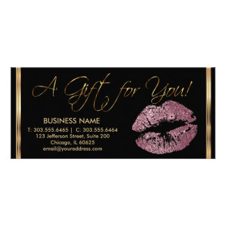 A Gift Certificate Pink Rose Lipstick Business 2 Custom Rack Cards