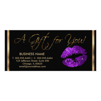 A Gift Certificate Purple Lipstick Business 2 Rack Cards