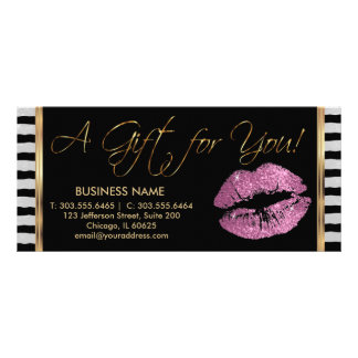 A Gift Certificate So Pink Lipstick Business 3 Rack Card Design
