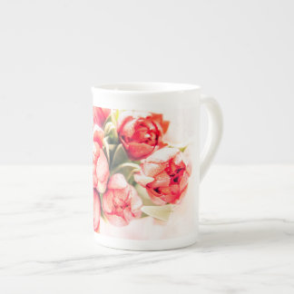 A gift of red tulips: beautiful bone china tea cup