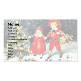 A girl and a boy snow slading on a snow land business card template