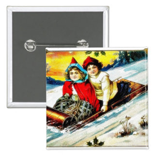 A girl and a boy snow slading on a snow land pinback button