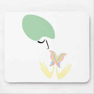 A girl and a butterfly mouse pad