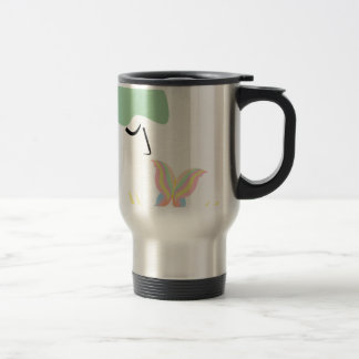 A girl and a butterfly travel mug