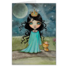 A Girl and Her Cat Little Princess Big Eye Art Card