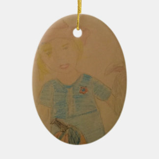 A girl and her dog. ceramic oval ornament
