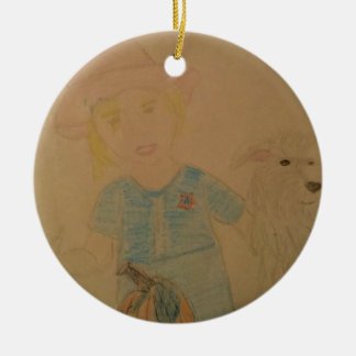 A girl and her dog. round ceramic ornament