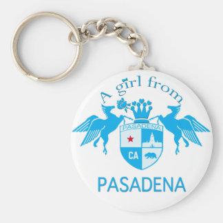 A Girl From PASADENA Logo Blue Emblem Key Chain