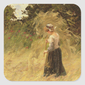A Girl Harvesting Hay, 19th century Square Sticker
