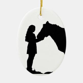 A Girl & Her Horse Love Silhouette Art Ceramic Ornament