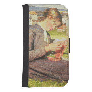 A Girl Knitting, 1888 (oil on canvas) Phone Wallet