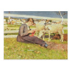 A Girl Knitting, 1888 (oil on canvas) Postcard