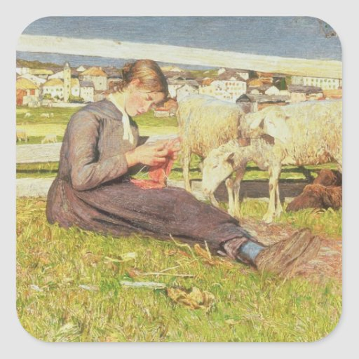 A Girl Knitting, 1888 (oil on canvas) Square Sticker