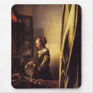 A Girl Reading a Letter at an Open Window Mouse Pad