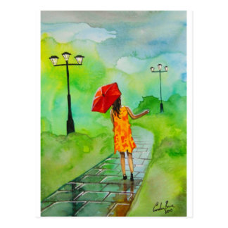 a Girl with a red umbrella by Gordon Bruce Postcard