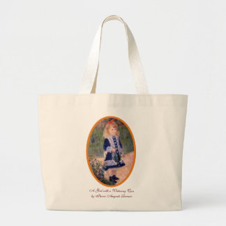 A Girl with a Watering Can by Renoir Large Tote Bag