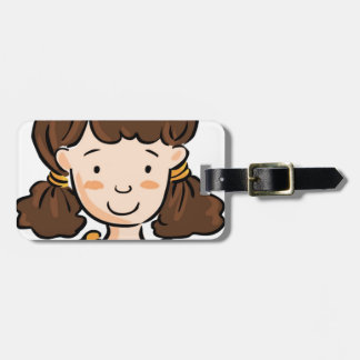 A Girl with Brown Hair Luggage Tag