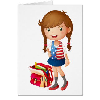 a girl with school bag card